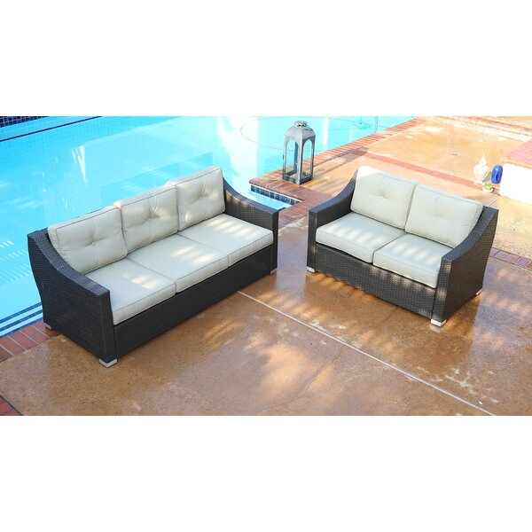 Suai 2 Piece Rattan Sofa Seating Group with Cushions by Brayden Studio