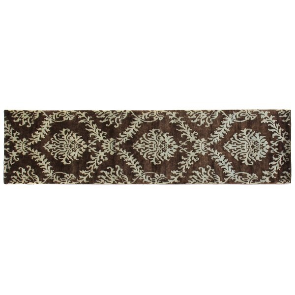 Metropolitan Hand-Knotted Wool Brown/Light Blue Area Rug by Exquisite Rugs