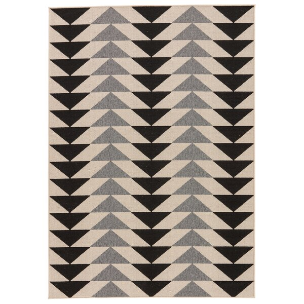 Maverick Hand-Knotted Black/Gray/Cream Indoor/Outdoor Area Rug by Foundry Select