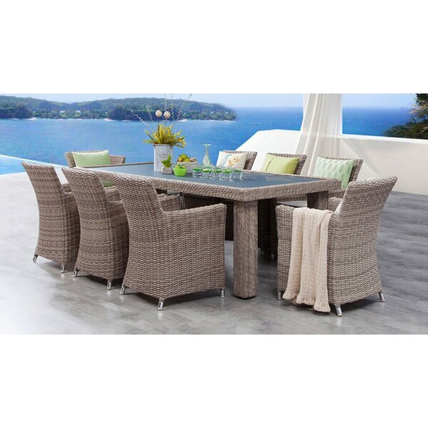 Soto 9 Piece Dining Set with Cushions Bayou Breeze W001992527