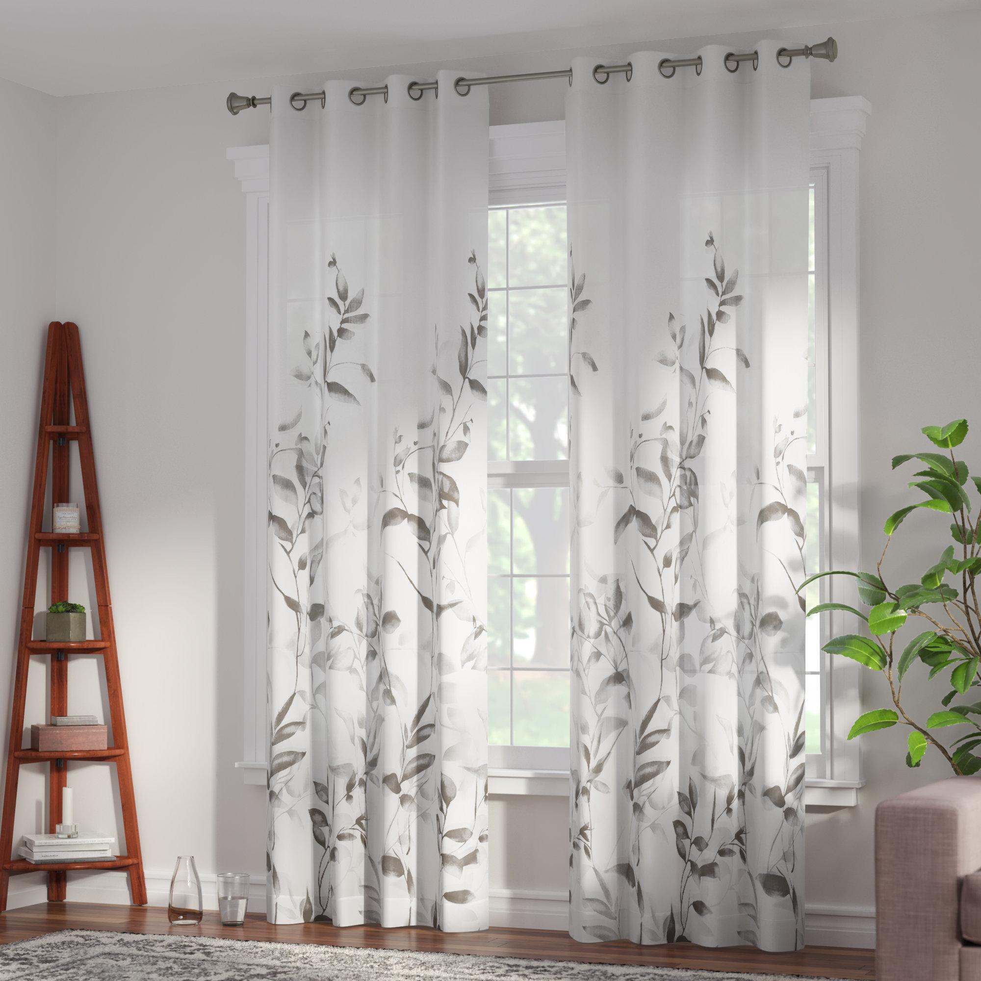 Trent Floral/Flower Semi-Sheer Grommet Single Curtain Panel