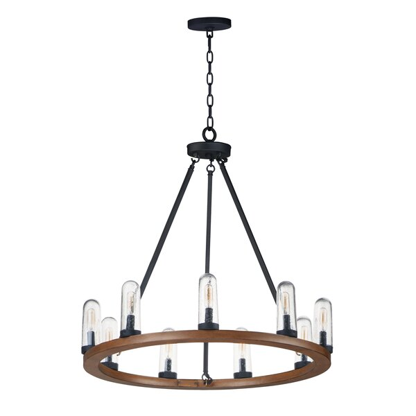 Mooney 9 - Light Unique / Statement Wagon Wheel Chandelier with Wrought Iron Accents by Williston Forge Williston Forge