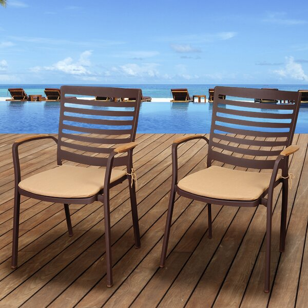 Elsmere Stacking Teak Patio Dining Chair with Cushion (Set of 4) by Beachcrest Home