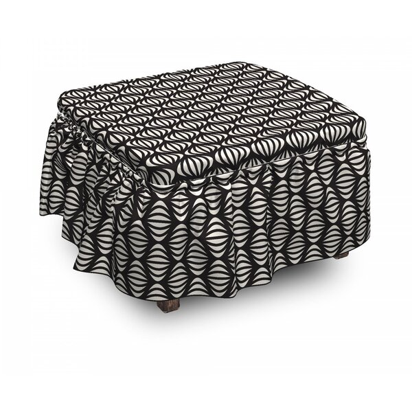 Geometric Striped Ottoman Slipcover (Set Of 2) By East Urban Home