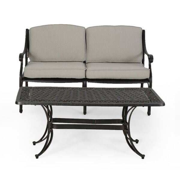 Poche Outdoor 2 Piece Deep Seating Group with Cushions by Canora Grey