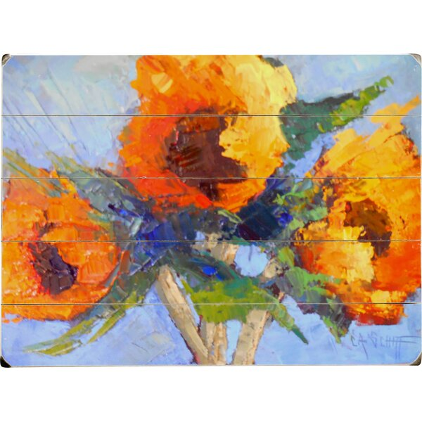 Sunny Flowers Painting Print Multi-Piece Image on Wood by Artehouse LLC
