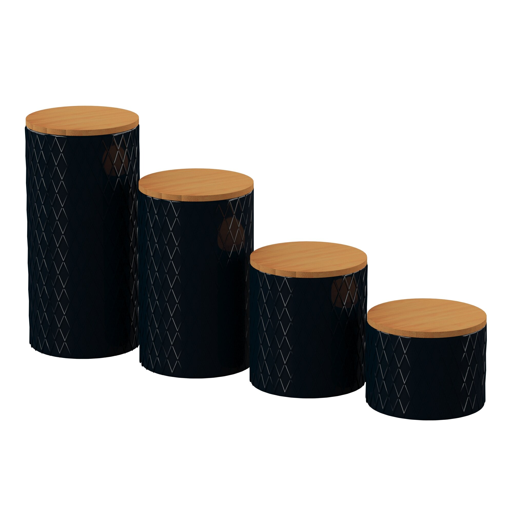 Joss & Main Essentials Embossed 4 Piece Kitchen Canister Set