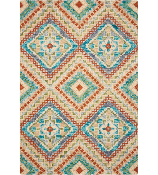Zosia Geometric Hand Tufted Wool Ivory Area Rug by Bloomsbury Market