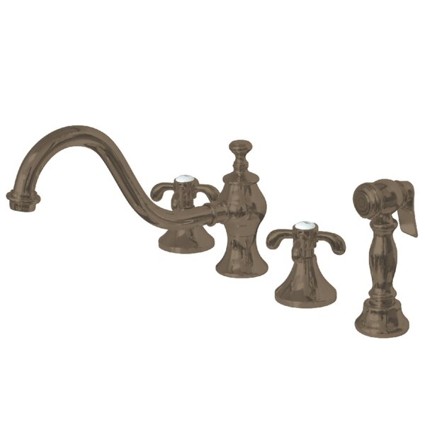 French Country Double Handle Kitchen Faucet with Side Spray by Kingston Brass