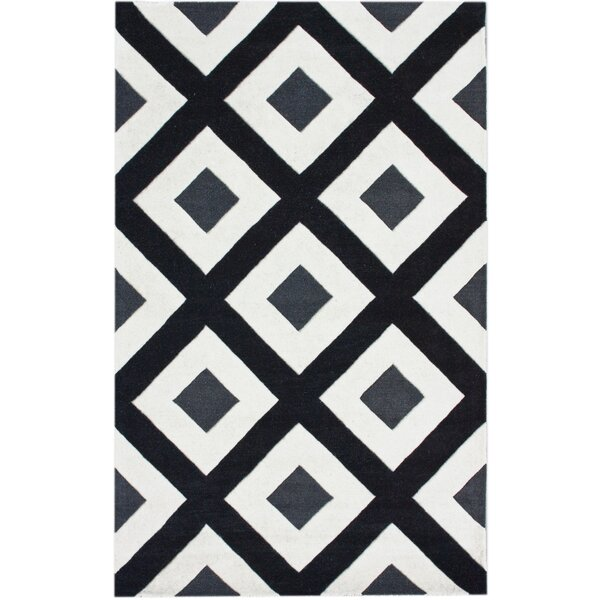Bella Diamonds Hand-Tufted Wool Black/White Area Rug by nuLOOM