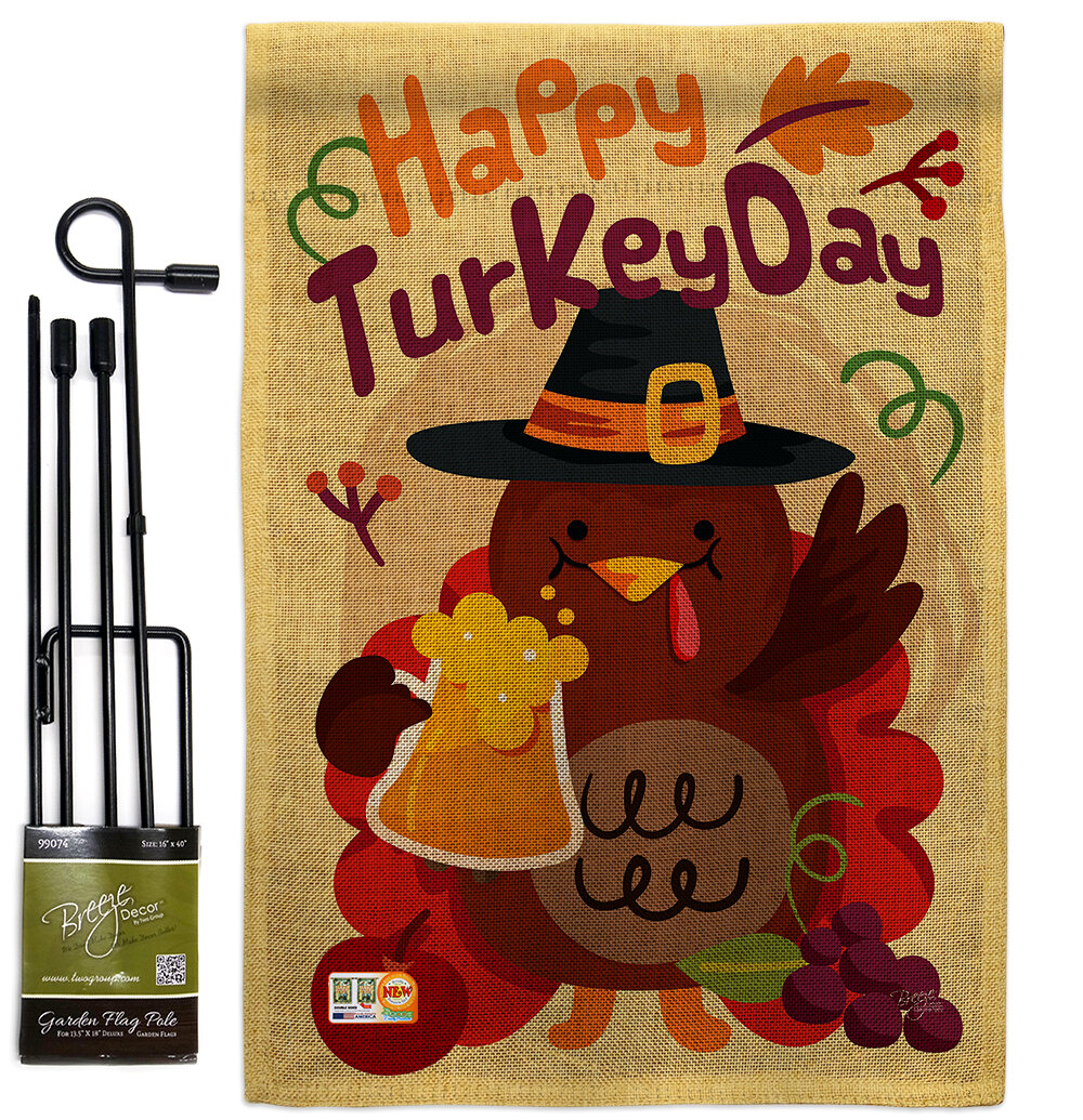 Breeze Decor Happy Turkey Day Fall Thanksgiving Impressions 2 Sided Polyester 19 X 13 In Flag Set Wayfair