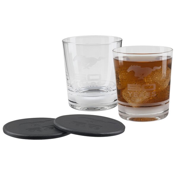 Mustang 50th 12 oz. Old Fashioned Glass (Set of 2) by Ford