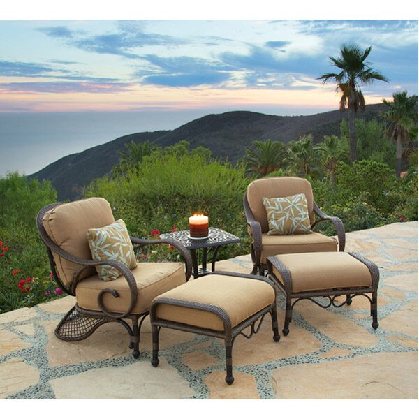Jared 5 Piece Deep Sunbrella Seating Group with Cushions by World Menagerie