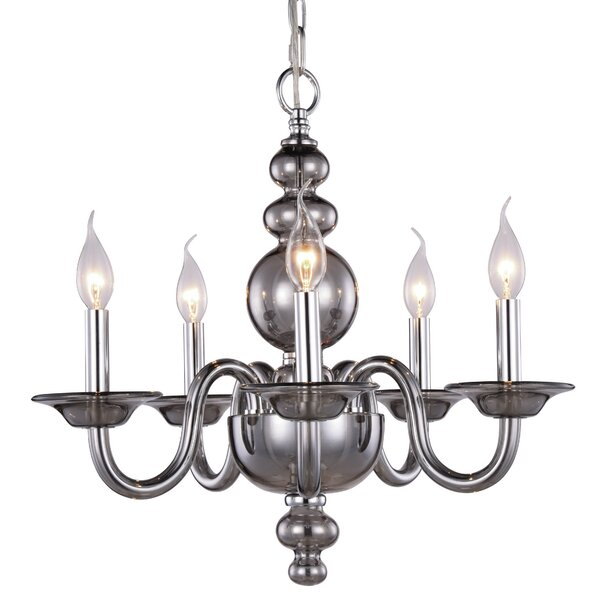 Elissa 5 - Light Candle Style Classic / Traditional Chandelier by Rosdorf Park Rosdorf Park
