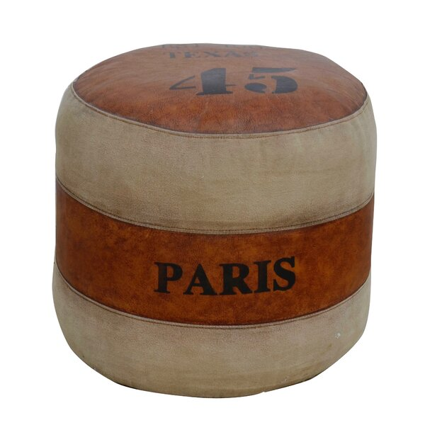 Mcalpin Leather Pouf by Williston Forge