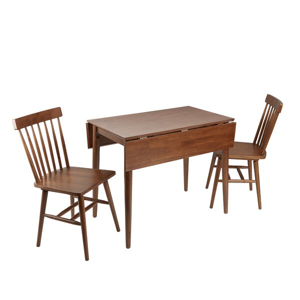 Alidade Mid-Century Modern 3 Piece Drop Leaf Breakfast Nook Dining Table Set by Ebern Designs