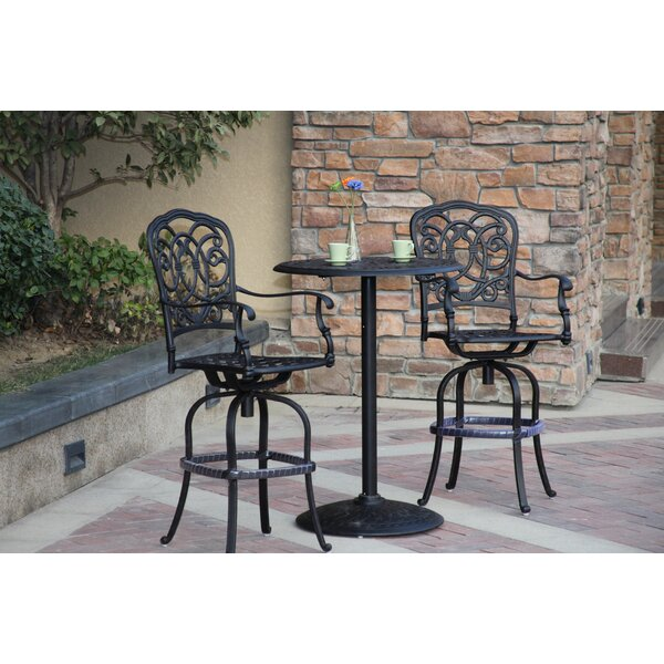 Dolby 3 Piece Bar Height Dining Set with Cushions by Astoria Grand