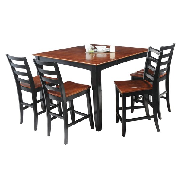 Palm Springs 5 Piece Counter Height Solid Wood Dining Set by Loon Peak