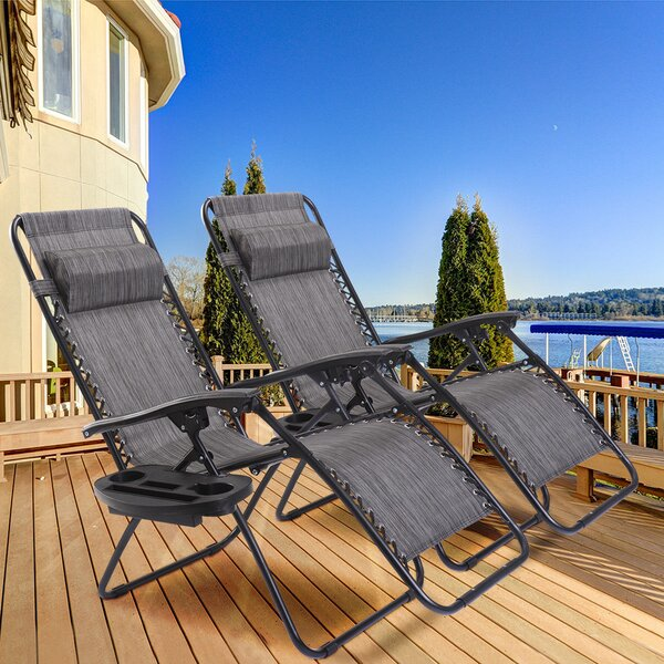Warwickshire Zero Gravity Reclining Chaise Lounge with Utility Tray (Set of 2) by Freeport Park