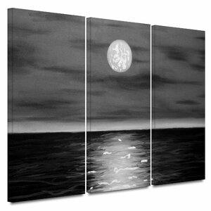 'Moon Rising' by Jim Morana 3 Piece Painting Print on Wrapped Canvas Set by ArtWall