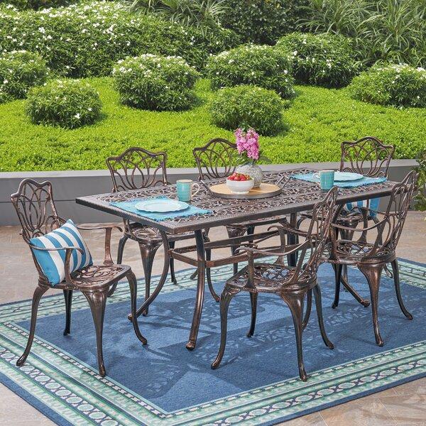 Berton Outdoor 7 Piece Dining Set by Fleur De Lis Living