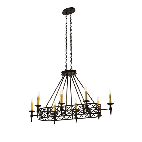 Moorefield 8 - Light Candle Style Wagon Wheel Chandelier by 17 Stories 17 Stories