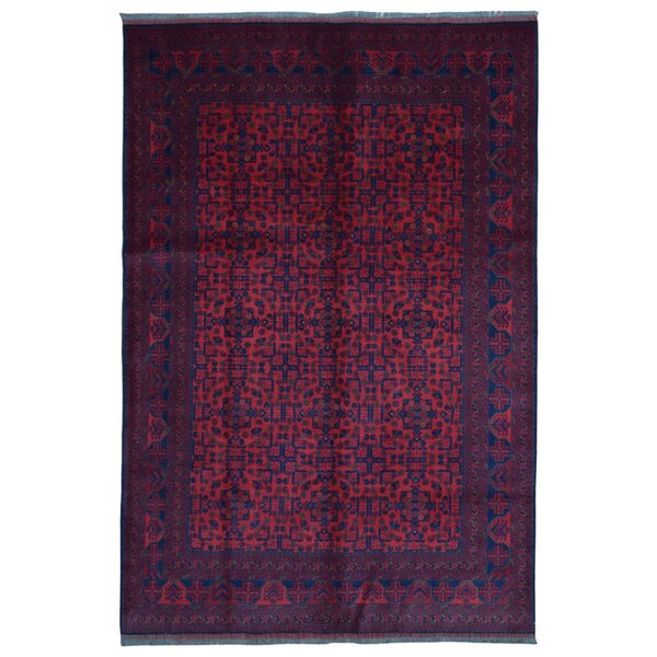 One-of-a-Kind Angoy Afghan Hand-Knotted Wool Red/Navy Area Rug by Bloomsbury Market