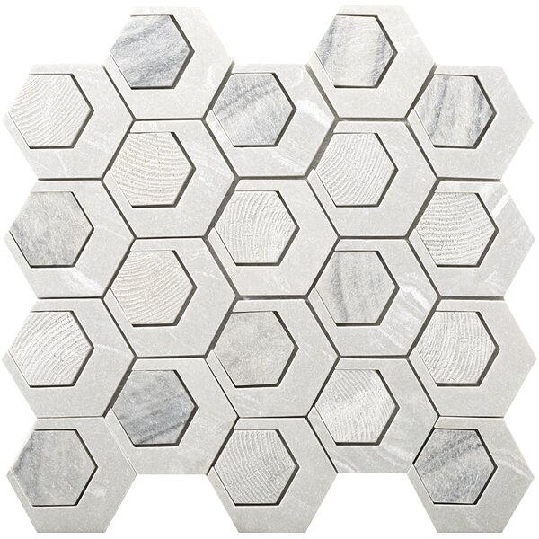 Catalyst 3 x 3 Stone Mosaic Tile in Saturn by Emser Tile