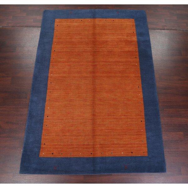 Fortune Indian Oriental Hand-Woven Wool Orange/Blue Area Rug by Ebern Designs