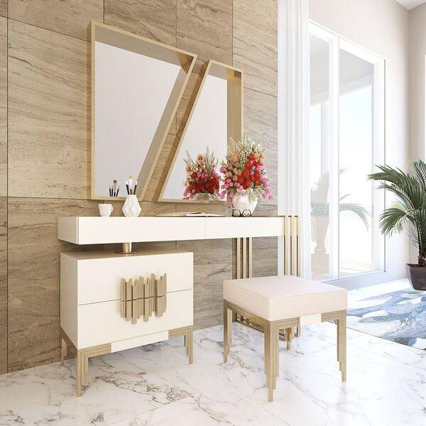 Lundberg Vanity Set with Stool and Mirror