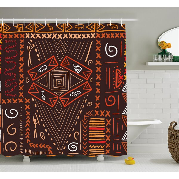 Paddington Aboriginal Patterns Tribal Motifs Objects Collage of Cave Pictures Print Shower Curtain by World Menagerie