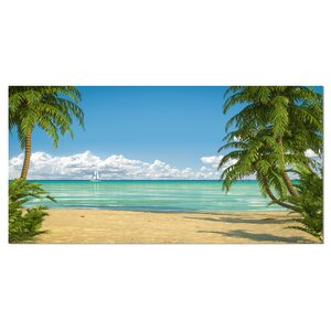 'Palms at Caribbean Beach' Graphic Art on Wrapped Canvas by Design Art