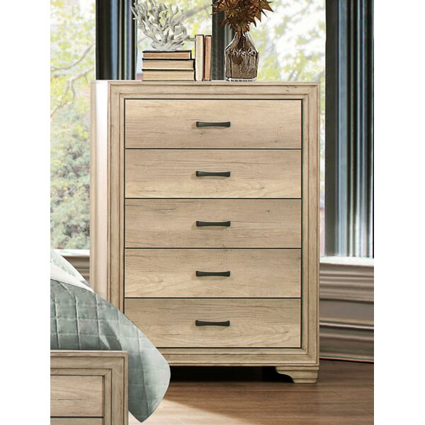 Ziebarth Wooden 5 Drawer Chest by Union Rustic