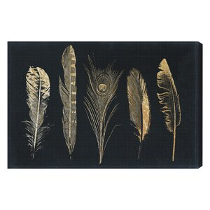 Feathers Graphic Art on Wrapped Canvas by Bungalow Rose