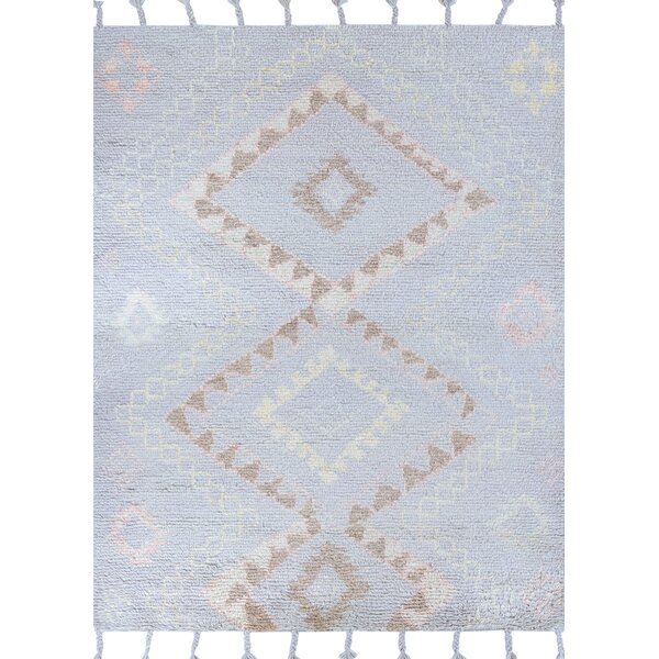 Arnoldo Morning Mist Hand-Knotted Wool Blue/Brown Area Rug by Foundry Select