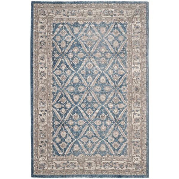 Sofia Power Loom Blue/Beige Area Rug by Darby Home Co