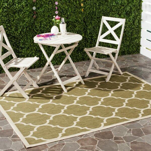 Short Green/Beige Indoor/Outdoor Area Rug by Winston Porter