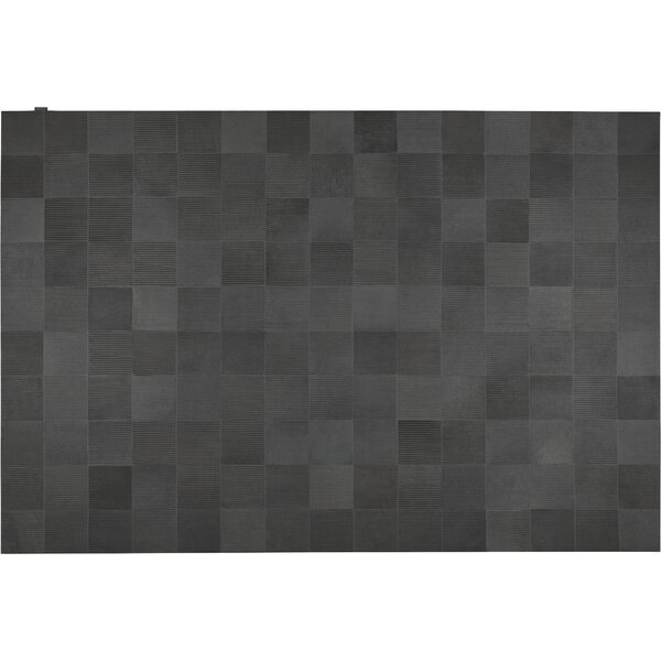 Laser Lines Cowhide Hand-Woven Lead Gray Area Rug by Modloft