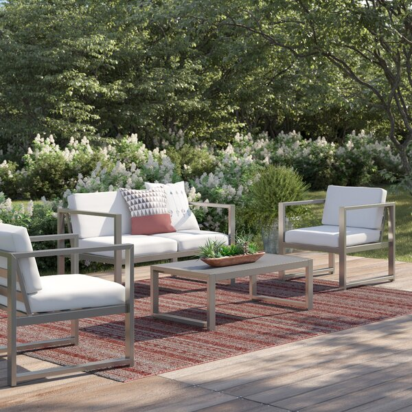 Mirando Outdoor 4 Piece Sofa Set with Cushions by Mercury Row