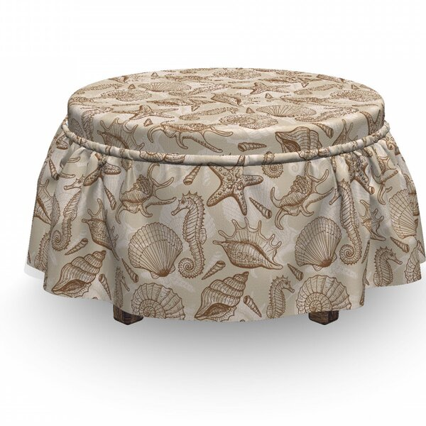 Sea Shells Vintage Ocean Design 2 Piece Box Cushion Ottoman Slipcover Set By East Urban Home