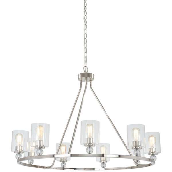 Gipe 9 - Light Shaded Wagon Wheel Chandelier by Ivy Bronx Ivy Bronx