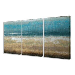 'Twilight Coast' 3 Piece Framed Painting Print on Canvas Set by Mercury Row