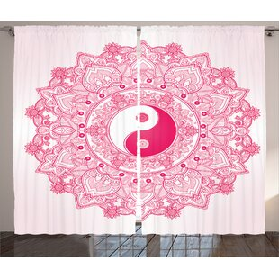 Ying Yang Traditional Mystical With Tao Mandala Pattern Floral Ethnic Asian Decorations Graphic Print Text Semi Sheer Rod Pocket Curtain Panels Set Of 2