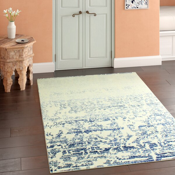 Arlingham Ivory/Blue Area Rug by Bungalow Rose