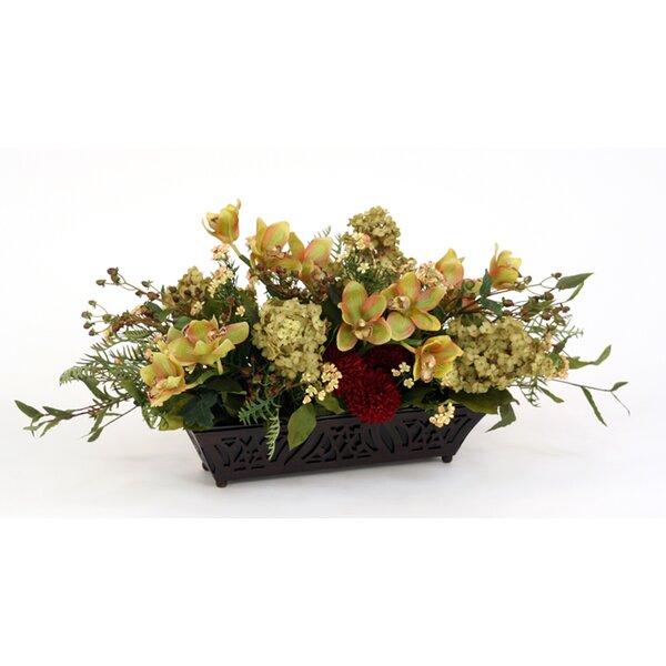 Silk Floral Mix in Rectangular Espresso Filigreed Planter by Distinctive Designs