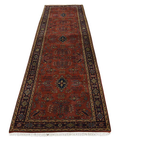 One-of-a-Kind New Zealand Sarouk Hand-Knotted Red Area Rug by Bloomsbury Market