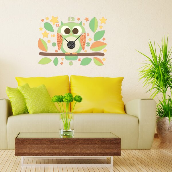 Owl Wall Clock Wall Decal by Style and Apply