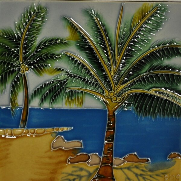 Tropical Palm Tile Wall Decor by Continental Art Center