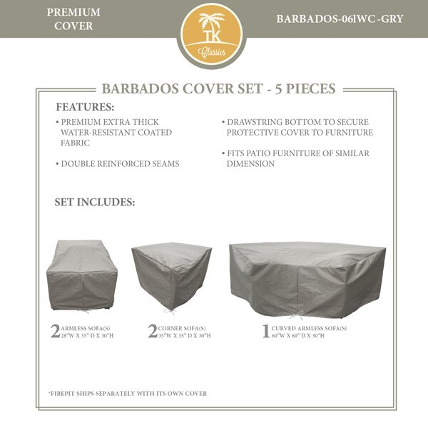 Barbados 5 Piece Water Resistant Patio Sofa Cover Set (Set of 6) by TK Classics