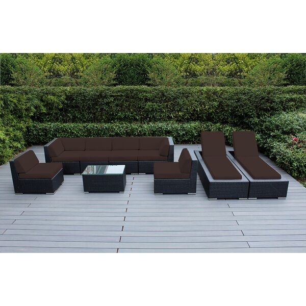 Kiara 9 Piece Rattan Sectional Seating Group with Cushions by Orren Ellis